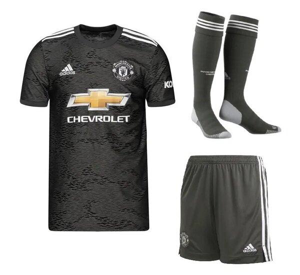 Манчестер Юнайтед гостевая детская форма сезон 2020-2021 (футболка + шорты + гетры)